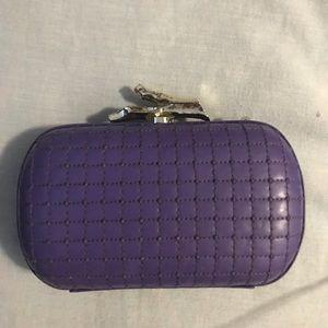 DVF purple leather clutch